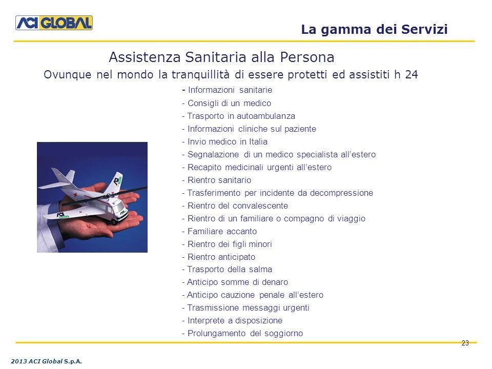 Ovunque nel mondo la tranquillità di essere protetti ed assistiti h 24 23 La gamma dei Servizi Assistenza Sanitaria alla Persona 2013 ACI Global S.p.A.