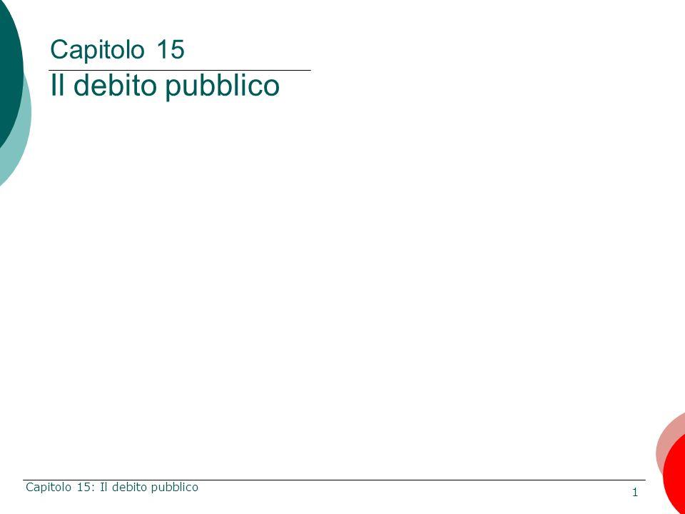 1 Capitolo 15: Il debito pubblico Capitolo 15 Il debito pubblico