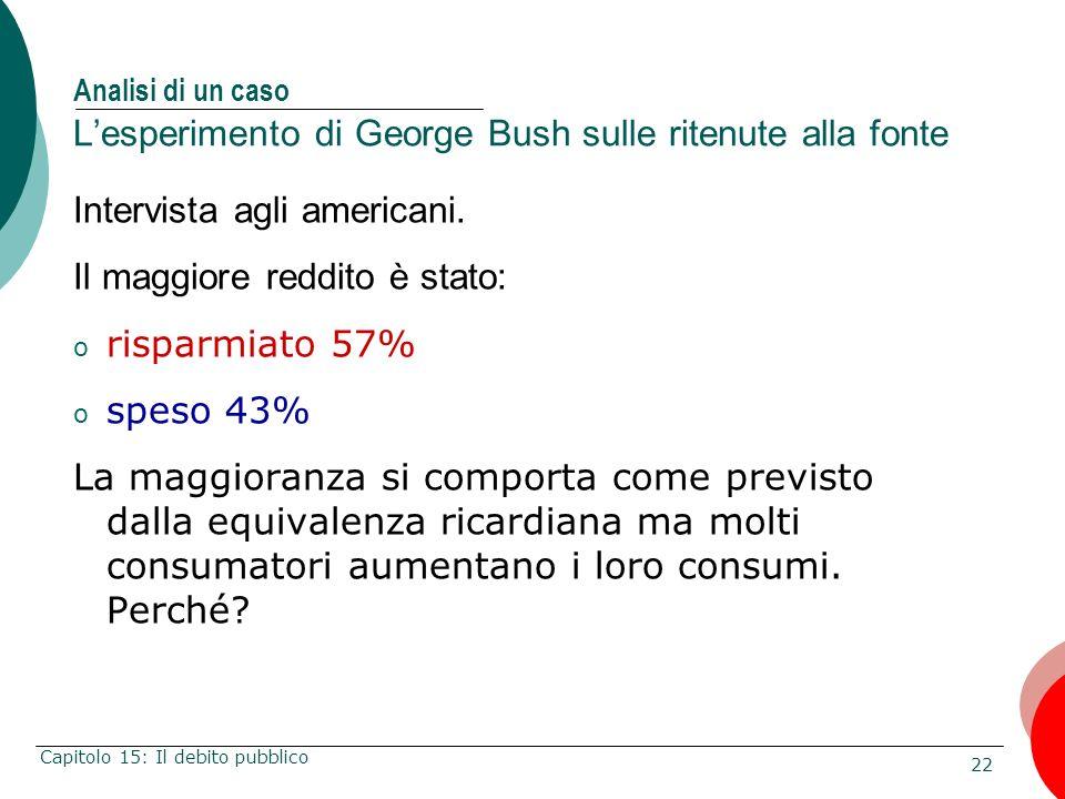 22 Capitolo 15: Il debito pubblico Analisi di un caso Lesperimento di George Bush sulle ritenute alla fonte Intervista agli americani. Il maggiore red