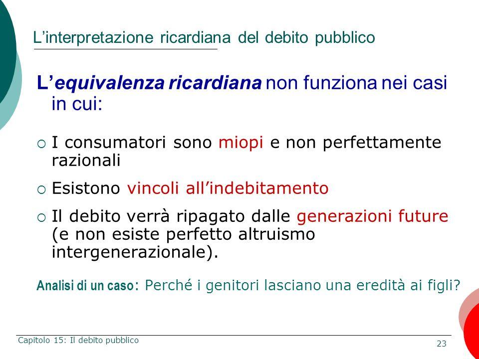 23 Capitolo 15: Il debito pubblico Linterpretazione ricardiana del debito pubblico Lequivalenza ricardiana non funziona nei casi in cui: I consumatori
