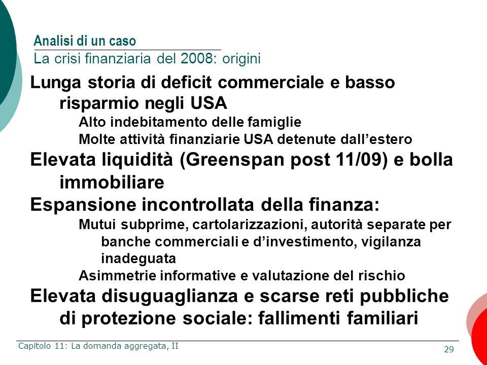 29 Capitolo 11: La domanda aggregata, II Lunga storia di deficit commerciale e basso risparmio negli USA Alto indebitamento delle famiglie Molte attiv