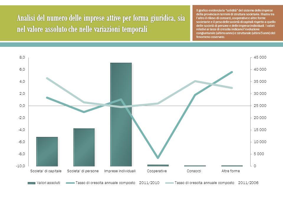 Il grafico evidenzia la solidità del sistema delle imprese della provincia in termini di struttura societaria.