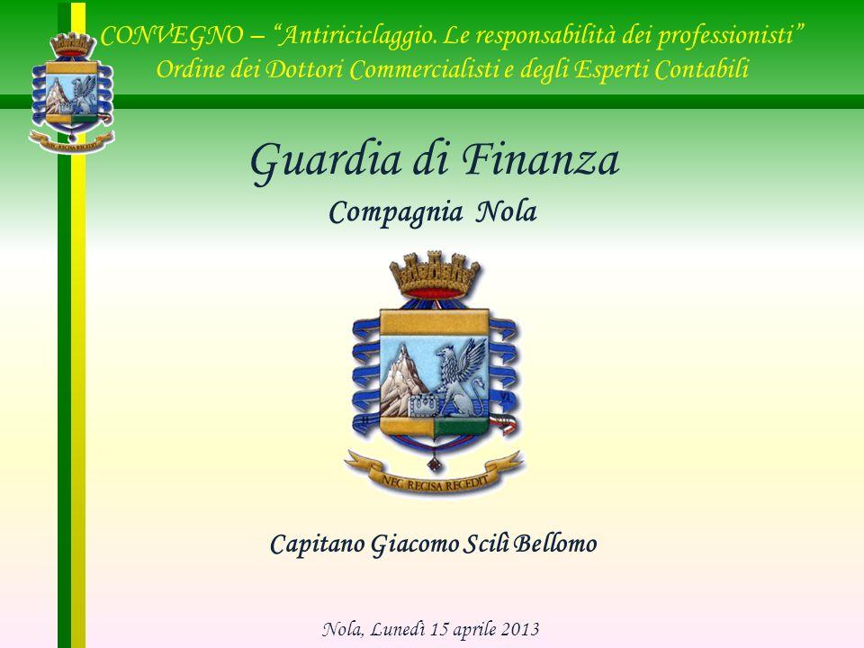 Capitano Giacomo Scilì Bellomo Guardia di Finanza Compagnia Nola CONVEGNO – Antiriciclaggio. Le responsabilità dei professionisti Ordine dei Dottori C