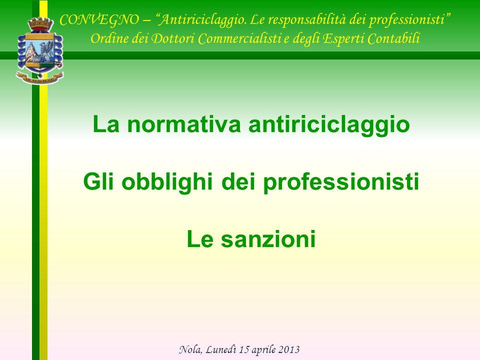 PRINCIPALI ADEMPIMENTI del d.lgs 231/2007 1.Adeguata verifica della clientela (art.