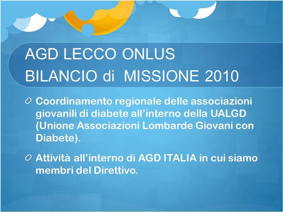AGD LECCO ONLUS BILANCIO di MISSIONE 2010 Coordinamento regionale delle associazioni giovanili di diabete allinterno della UALGD (Unione Associazioni Lombarde Giovani con Diabete).