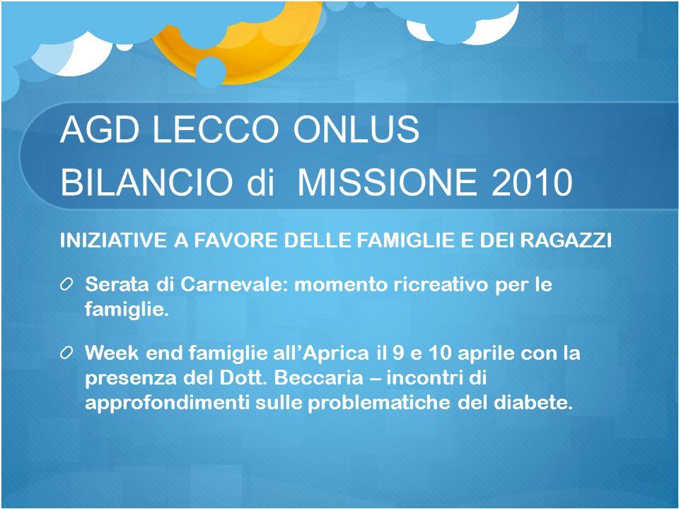 AGD LECCO ONLUS BILANCIO di MISSIONE 2010 INIZIATIVE A FAVORE DELLE FAMIGLIE E DEI RAGAZZI Serata di Carnevale: momento ricreativo per le famiglie.