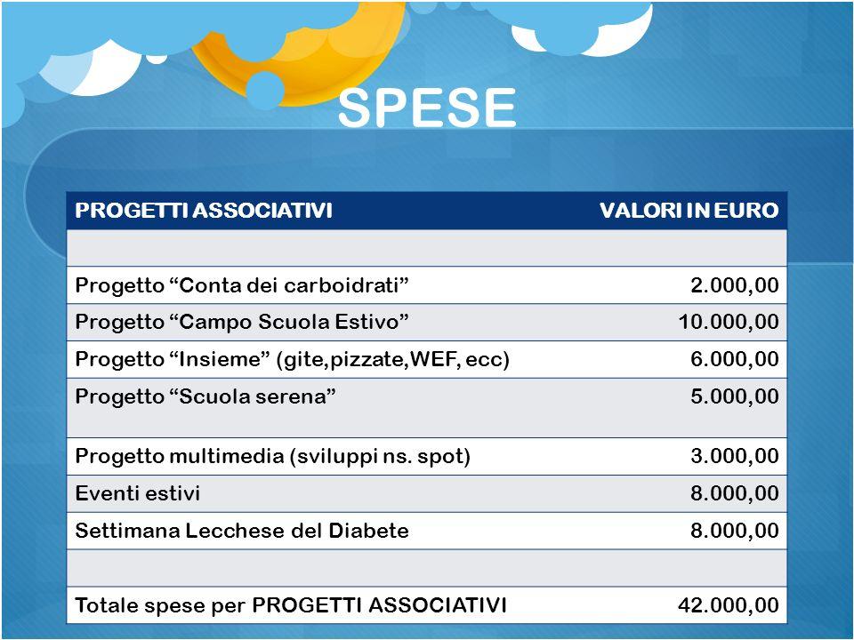 SPESE PROGETTI ASSOCIATIVIVALORI IN EURO Progetto Conta dei carboidrati2.000,00 Progetto Campo Scuola Estivo10.000,00 Progetto Insieme (gite,pizzate,WEF, ecc)6.000,00 Progetto Scuola serena5.000,00 Progetto multimedia (sviluppi ns.