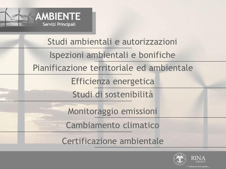Ispezioni ambientali e bonifiche Efficienza energetica Studi di sostenibilità Pianificazione territoriale ed ambientale Studi ambientali e autorizzazi