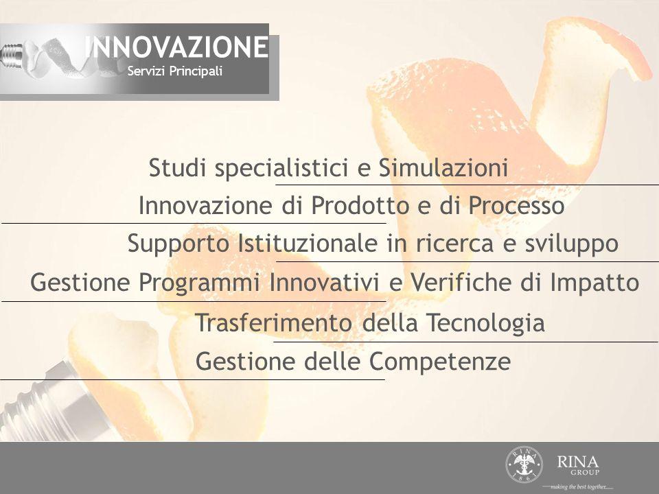 Studi specialistici e Simulazioni Innovazione di Prodotto e di Processo Trasferimento della Tecnologia Supporto Istituzionale in ricerca e sviluppo Ge