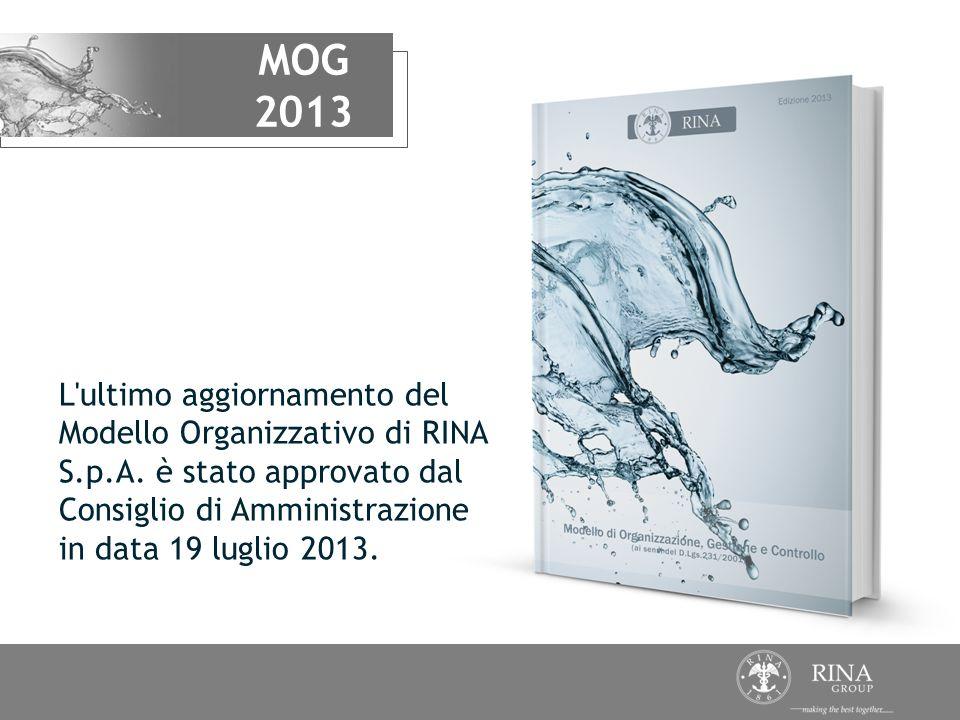 MOG 2013 L'ultimo aggiornamento del Modello Organizzativo di RINA S.p.A. è stato approvato dal Consiglio di Amministrazione in data 19 luglio 2013.