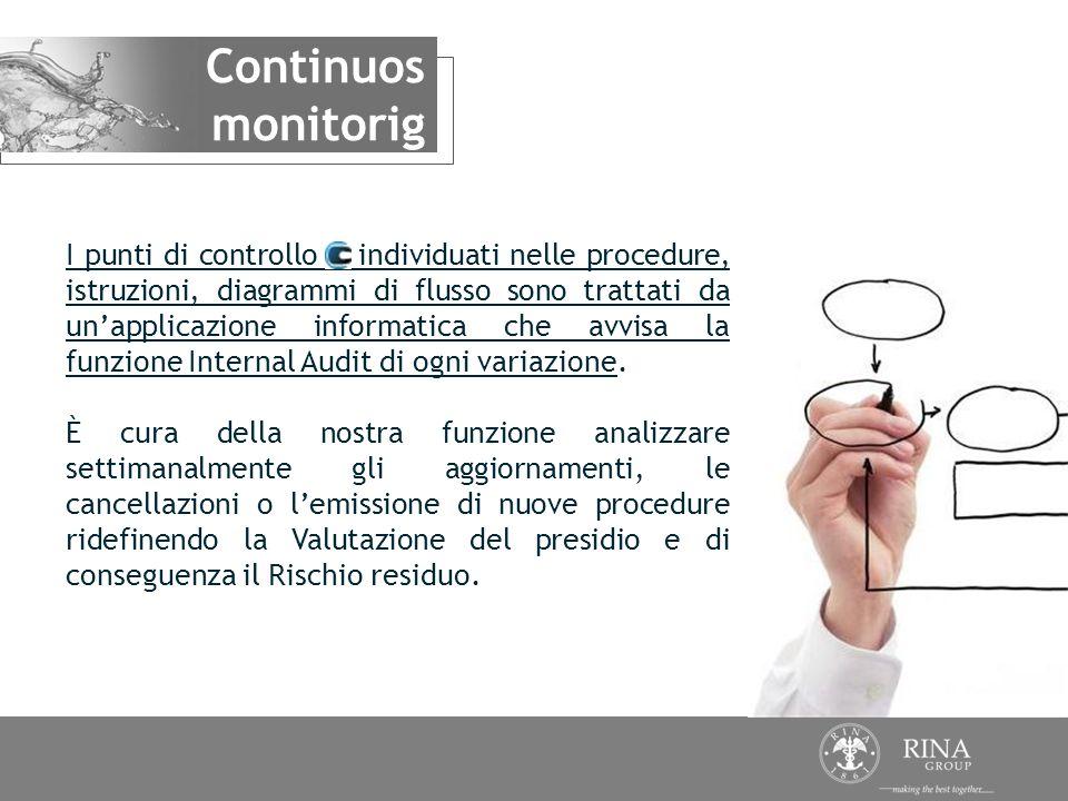 I punti di controllo individuati nelle procedure, istruzioni, diagrammi di flusso sono trattati da unapplicazione informatica che avvisa la funzione I