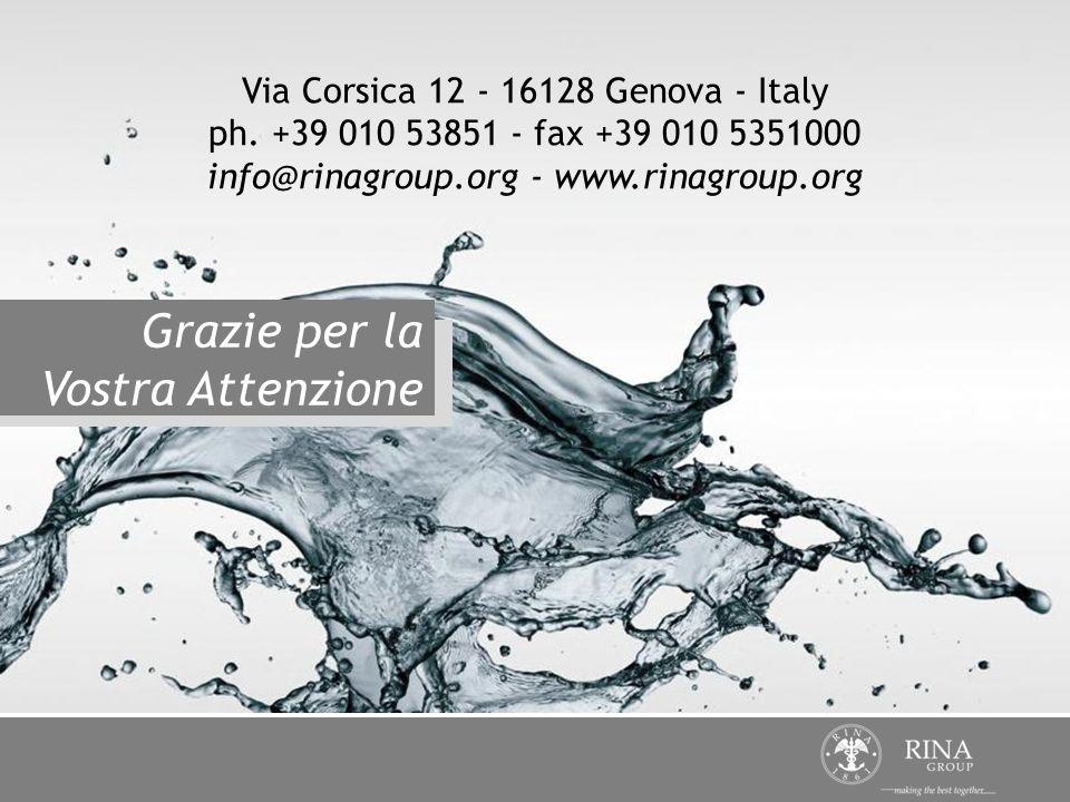 Via Corsica 12 - 16128 Genova - Italy ph. +39 010 53851 - fax +39 010 5351000 info@rinagroup.org - www.rinagroup.org Grazie per la Vostra Attenzione