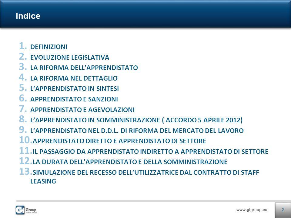 www.gigroup.eu 1. DEFINIZIONI 2. EVOLUZIONE LEGISLATIVA 3. LA RIFORMA DELLAPPRENDISTATO 4. LA RIFORMA NEL DETTAGLIO 5. LAPPRENDISTATO IN SINTESI 6. AP