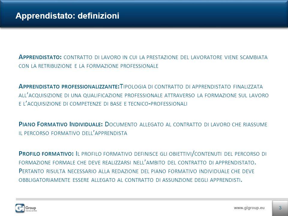 www.gigroup.eu A PPRENDISTATO : CONTRATTO DI LAVORO IN CUI LA PRESTAZIONE DEL LAVORATORE VIENE SCAMBIATA CON LA RETRIBUZIONE E LA FORMAZIONE PROFESSIONALE A PPRENDISTATO PROFESSIONALIZZANTE :T IPOLOGIA DI CONTRATTO DI APPRENDISTATO FINALIZZATA ALL ACQUISIZIONE DI UNA QUALIFICAZIONE PROFESSIONALE ATTRAVERSO LA FORMAZIONE SUL LAVORO E L ACQUISIZIONE DI COMPETENZE DI BASE E TECNICO - PROFESSIONALI P IANO F ORMATIVO I NDIVIDUALE : D OCUMENTO ALLEGATO AL CONTRATTO DI LAVORO CHE RIASSUME IL PERCORSO FORMATIVO DELL APPRENDISTA P ROFILO FORMATIVO : I L PROFILO FORMATIVO DEFINISCE GLI OBIETTIVI / CONTENUTI DEL PERCORSO DI FORMAZIONE FORMALE CHE DEVE REALIZZARSI NELL AMBITO DEL CONTRATTO DI APPRENDISTATO.