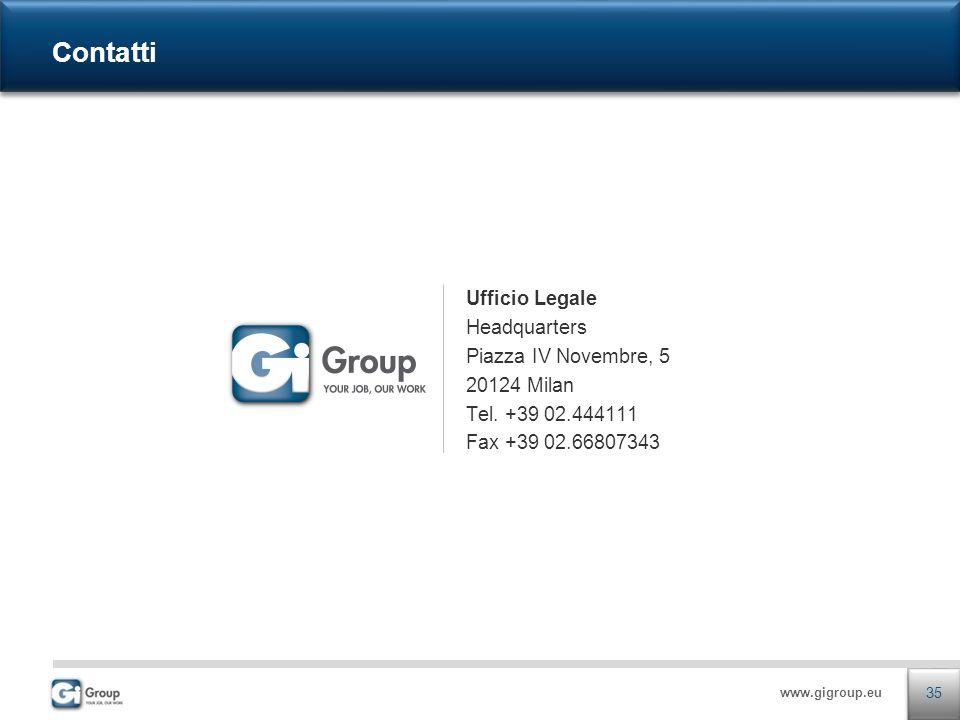 www.gigroup.eu Ufficio Legale Headquarters Piazza IV Novembre, 5 20124 Milan Tel. +39 02.444111 Fax +39 02.66807343 Contatti 35