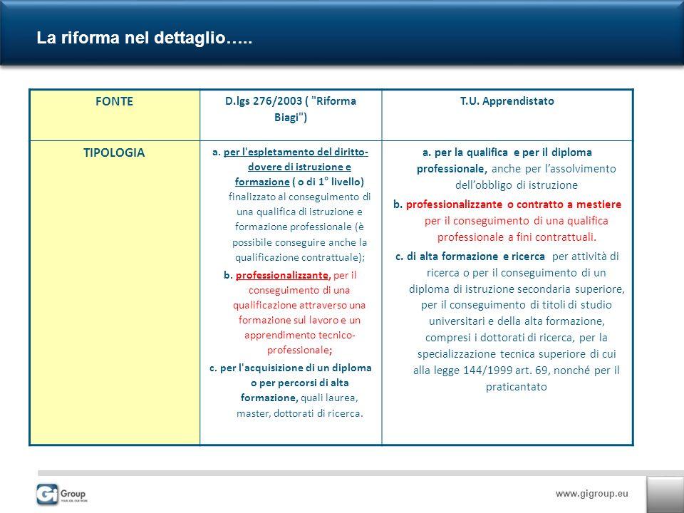 www.gigroup.eu La riforma nel dettaglio…..7 FONTE D.lgs 276/2003 ( Riforma Biagi ) T.U.