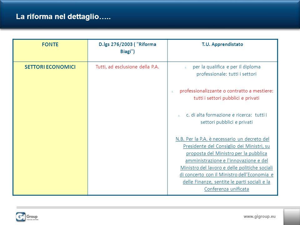 www.gigroup.eu La riforma nel dettaglio…..FONTE D.lgs 276/2003 ( Riforma Biagi ) T.U.