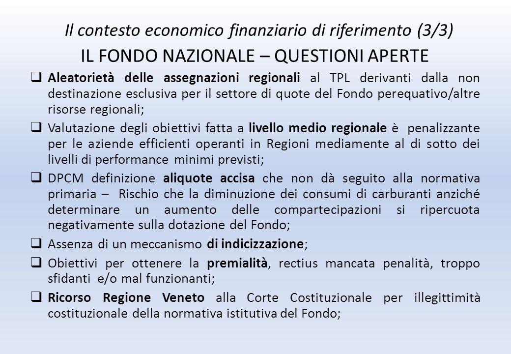 Il contesto economico finanziario di riferimento (3/3) IL FONDO NAZIONALE – QUESTIONI APERTE Aleatorietà delle assegnazioni regionali al TPL derivanti dalla non destinazione esclusiva per il settore di quote del Fondo perequativo/altre risorse regionali; Valutazione degli obiettivi fatta a livello medio regionale è penalizzante per le aziende efficienti operanti in Regioni mediamente al di sotto dei livelli di performance minimi previsti; DPCM definizione aliquote accisa che non dà seguito alla normativa primaria – Rischio che la diminuzione dei consumi di carburanti anziché determinare un aumento delle compartecipazioni si ripercuota negativamente sulla dotazione del Fondo; Assenza di un meccanismo di indicizzazione; Obiettivi per ottenere la premialità, rectius mancata penalità, troppo sfidanti e/o mal funzionanti; Ricorso Regione Veneto alla Corte Costituzionale per illegittimità costituzionale della normativa istitutiva del Fondo;