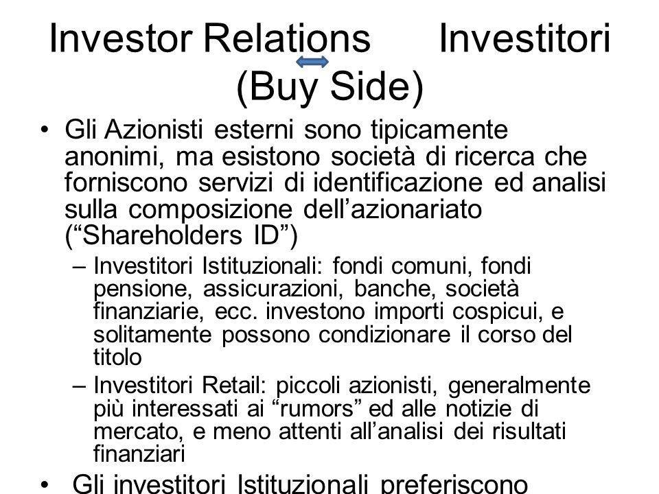 Investor Relations Investitori (Buy Side) Gli Azionisti esterni sono tipicamente anonimi, ma esistono società di ricerca che forniscono servizi di identificazione ed analisi sulla composizione dellazionariato (Shareholders ID) –Investitori Istituzionali: fondi comuni, fondi pensione, assicurazioni, banche, società finanziarie, ecc.