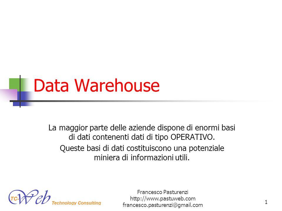 Introduzione La Data Warehouse (DW) è un sistema per il supporto alle decisioni (NON E SEMPLICEMENETE UNA GROSSA BASE DI DATI), permettono di: Analizzare lo stato dellazienda (operazioni di Data Mining) Prendere decisioni rapide e migliori (analizzando dati freschi) Migliorare la qualità del servizio Prevedere levoluzione della domanda (si pensi alla finanza) Individuare aree critiche Realizzare strategie vincenti (es: contenimento dei costi, aumento dei profitti) Definire (es: nel campo finanziario) pratiche antifrode e antiriciclaggio Francesco Pasturenzi http://www.pastuweb.com francesco.pasturenzi@gmail.com 2
