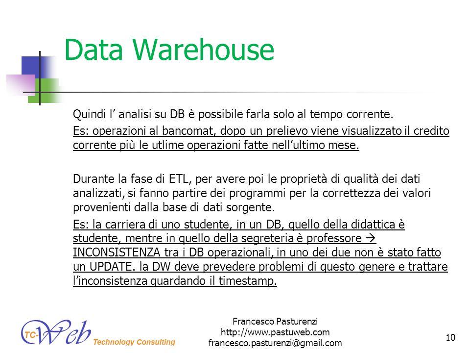 Data Warehouse Quindi l analisi su DB è possibile farla solo al tempo corrente. Es: operazioni al bancomat, dopo un prelievo viene visualizzato il cre