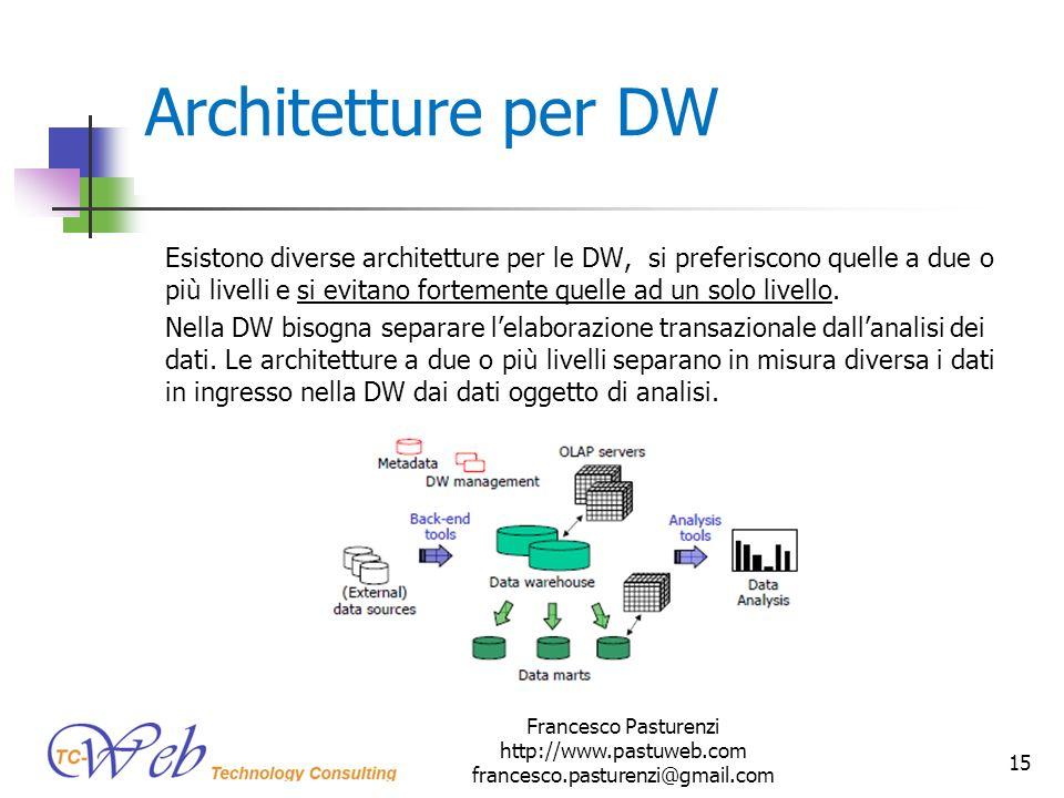 Architetture per DW Esistono diverse architetture per le DW, si preferiscono quelle a due o più livelli e si evitano fortemente quelle ad un solo live