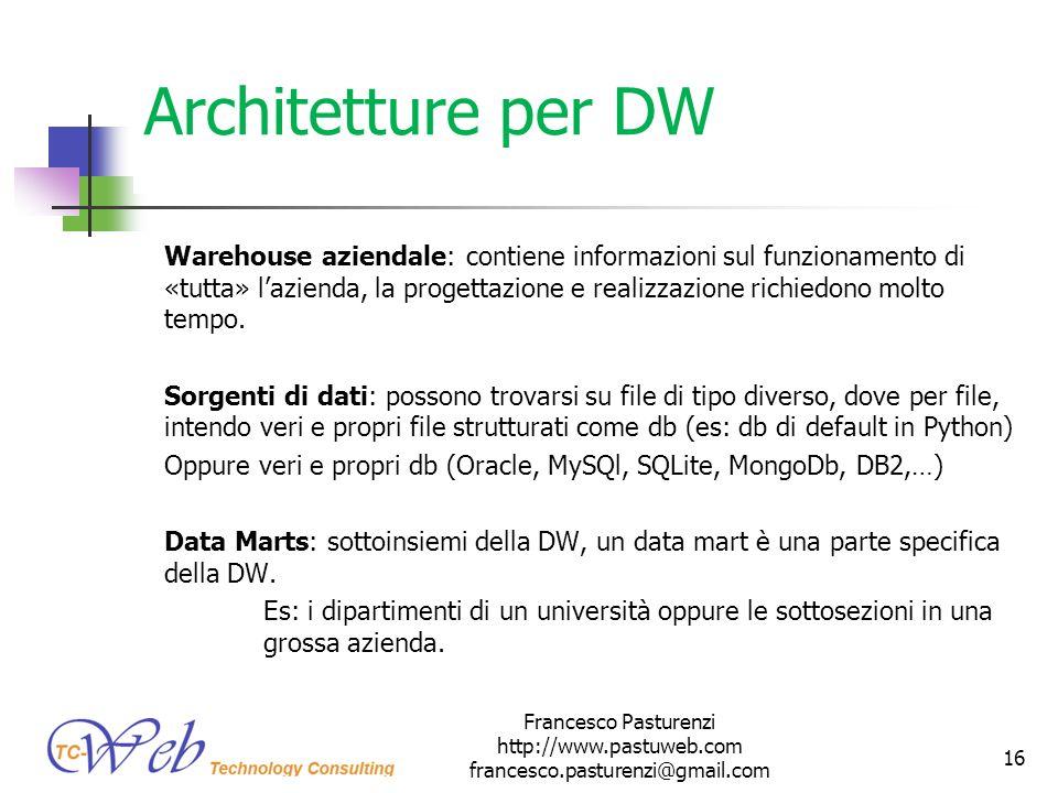 Architetture per DW Warehouse aziendale: contiene informazioni sul funzionamento di «tutta» lazienda, la progettazione e realizzazione richiedono molt