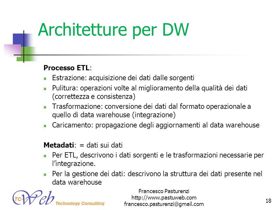 Architetture per DW Processo ETL: Estrazione: acquisizione dei dati dalle sorgenti Pulitura: operazioni volte al miglioramento della qualità dei dati