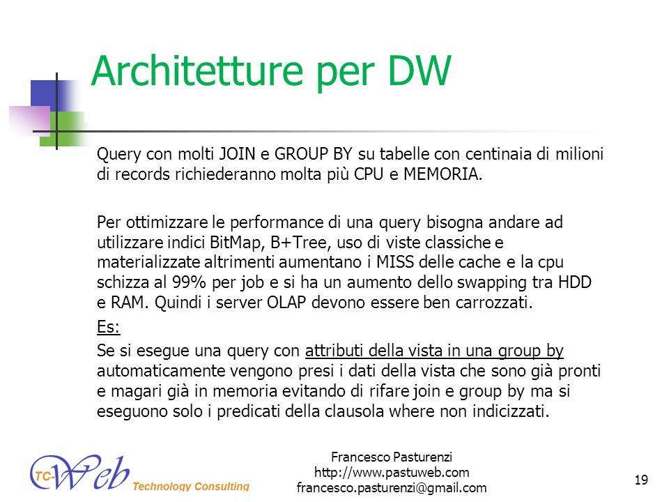 Architetture per DW Query con molti JOIN e GROUP BY su tabelle con centinaia di milioni di records richiederanno molta più CPU e MEMORIA. Per ottimizz