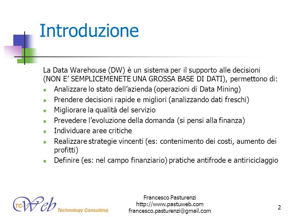 Introduzione La Data Warehouse (DW) è un sistema per il supporto alle decisioni (NON E SEMPLICEMENETE UNA GROSSA BASE DI DATI), permettono di: Analizz