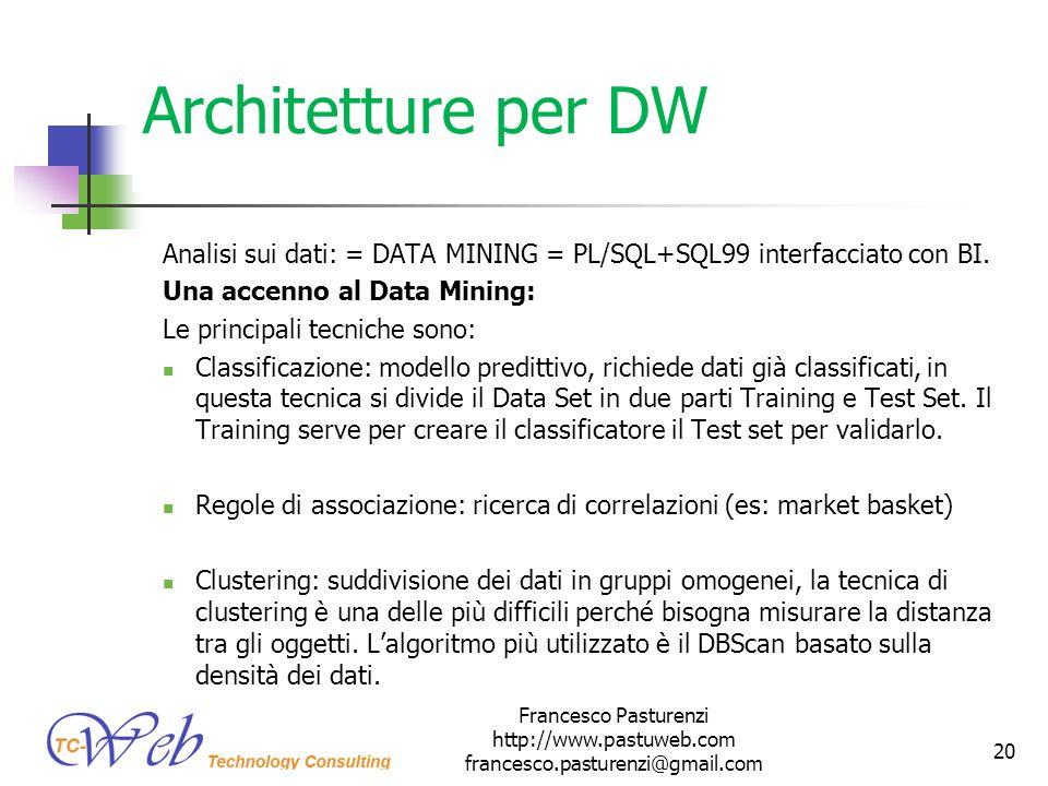 Architetture per DW Analisi sui dati: = DATA MINING = PL/SQL+SQL99 interfacciato con BI. Una accenno al Data Mining: Le principali tecniche sono: Clas