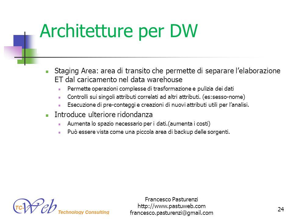 Architetture per DW Staging Area: area di transito che permette di separare lelaborazione ET dal caricamento nel data warehouse Permette operazioni co