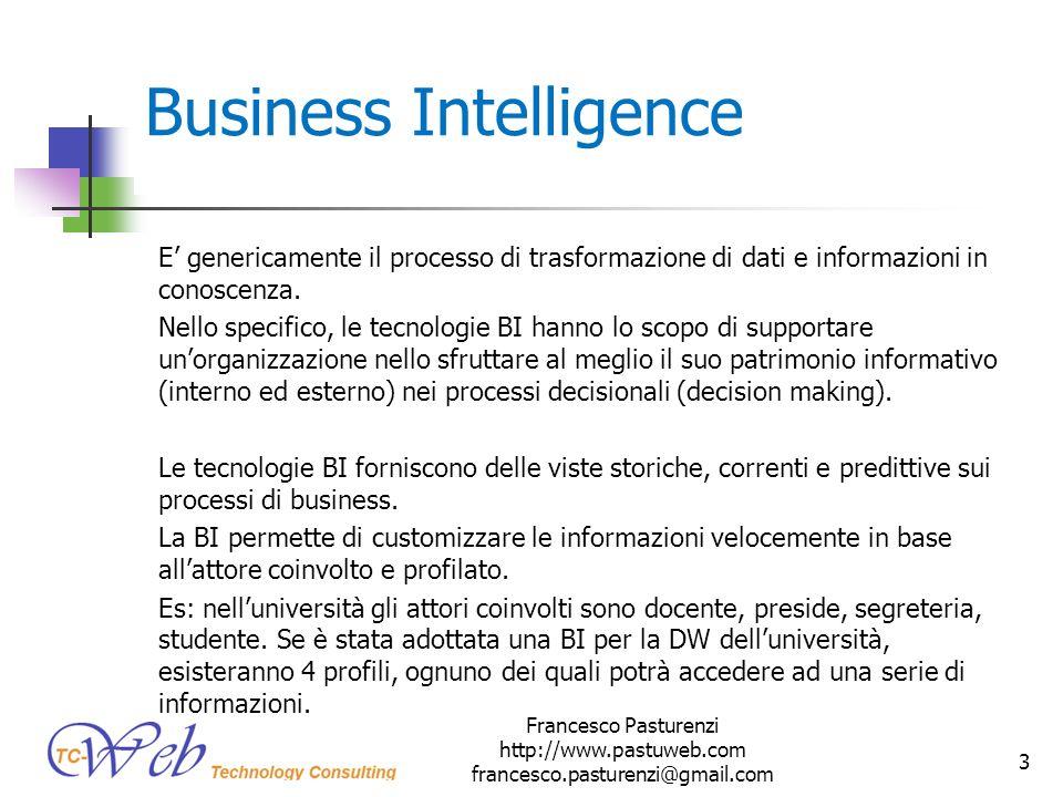 Business Intelligence E genericamente il processo di trasformazione di dati e informazioni in conoscenza. Nello specifico, le tecnologie BI hanno lo s