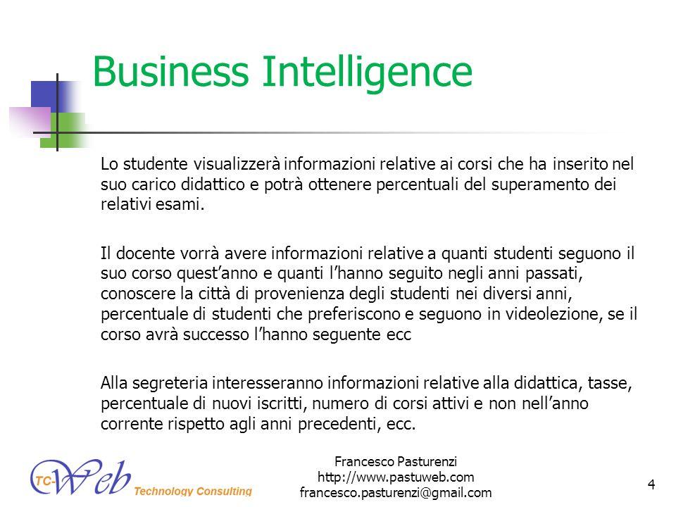 Business Intelligence Lo studente visualizzerà informazioni relative ai corsi che ha inserito nel suo carico didattico e potrà ottenere percentuali de