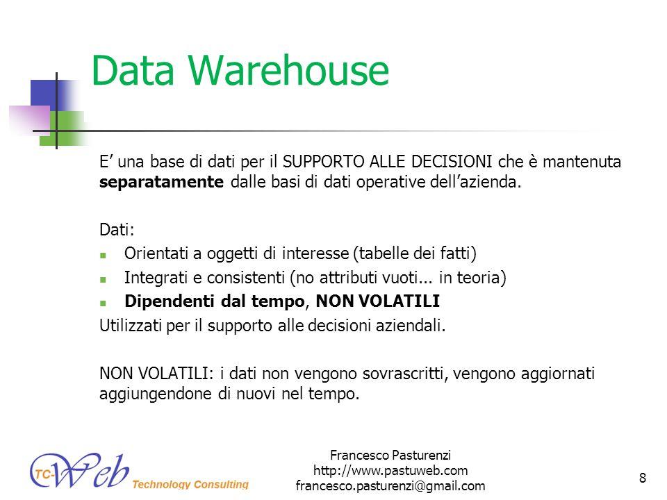 Data Warehouse I dati vengono separati dai DB ER alle DW perché: Ricerche complesse riducono le prestazioni delle transazioni operative (INSERT, UPDATE, SELECT di tutti i giorni) Analisi + Uso non è fattibile le prestazioni crollerebbero da entrambe le parti.