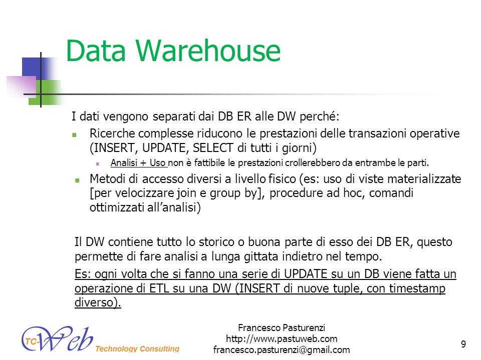 Data Warehouse I dati vengono separati dai DB ER alle DW perché: Ricerche complesse riducono le prestazioni delle transazioni operative (INSERT, UPDAT