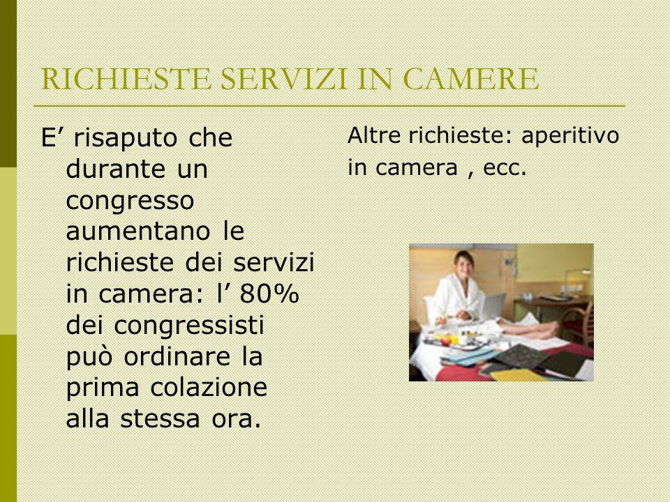 RICHIESTE SERVIZI IN CAMERE E risaputo che durante un congresso aumentano le richieste dei servizi in camera: l 80% dei congressisti può ordinare la prima colazione alla stessa ora.