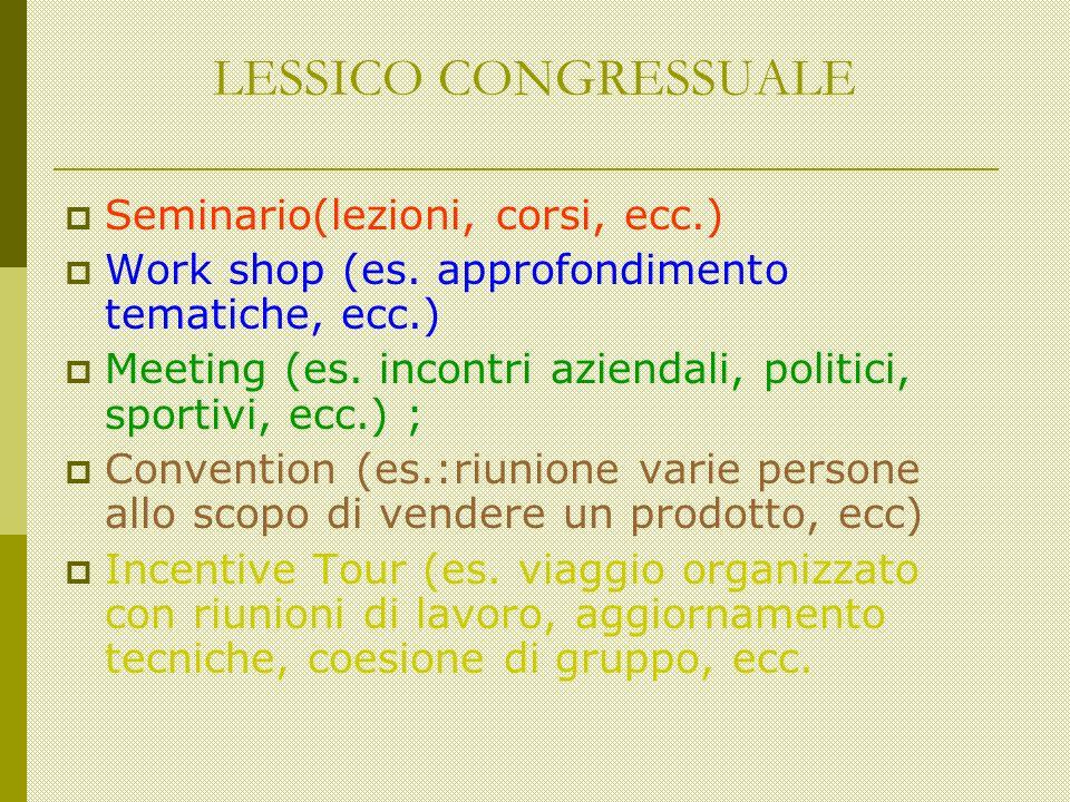 LESSICO CONGRESSUALE Seminario(lezioni, corsi, ecc.) Work shop (es.