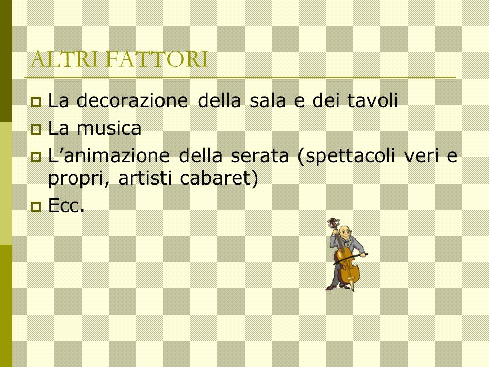 ALTRI FATTORI La decorazione della sala e dei tavoli La musica Lanimazione della serata (spettacoli veri e propri, artisti cabaret) Ecc.