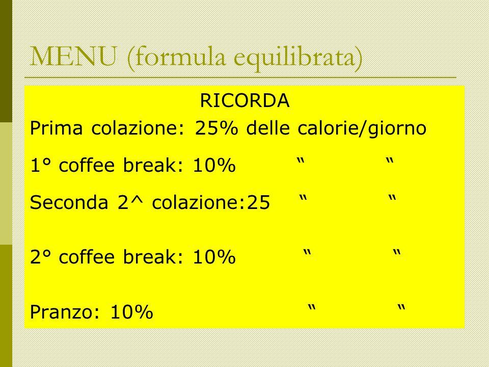 RICORDA Prima colazione: 25% delle calorie/giorno 1° coffee break: 10% Seconda 2^ colazione:25 2° coffee break: 10% Pranzo: 10% MENU (formula equilibrata)