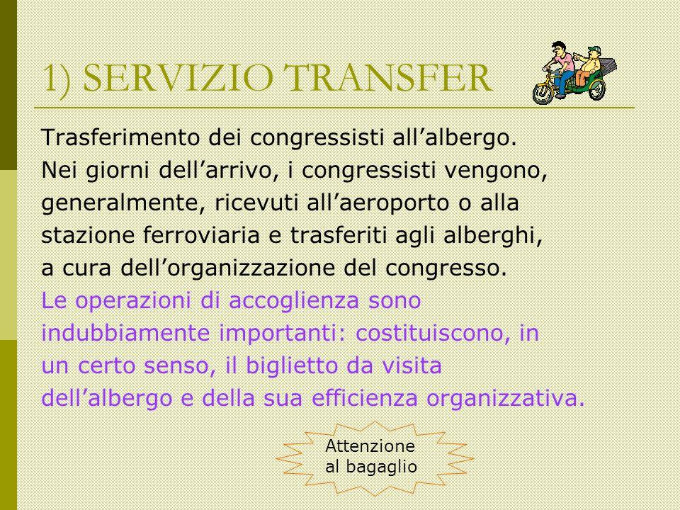 1) SERVIZIO TRANSFER Trasferimento dei congressisti allalbergo.