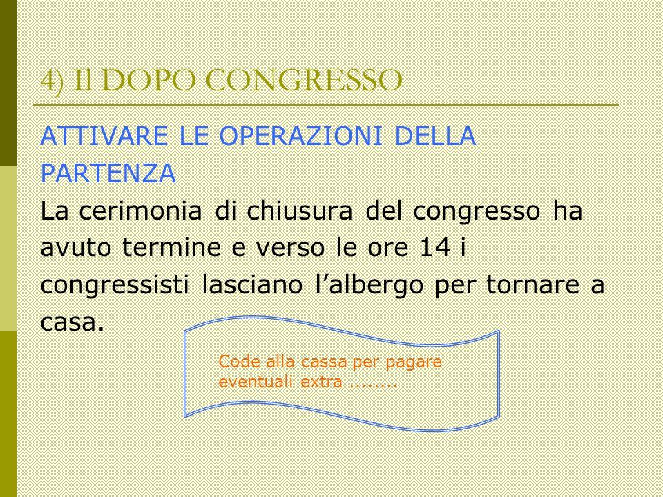 4) Il DOPO CONGRESSO ATTIVARE LE OPERAZIONI DELLA PARTENZA La cerimonia di chiusura del congresso ha avuto termine e verso le ore 14 i congressisti lasciano lalbergo per tornare a casa.