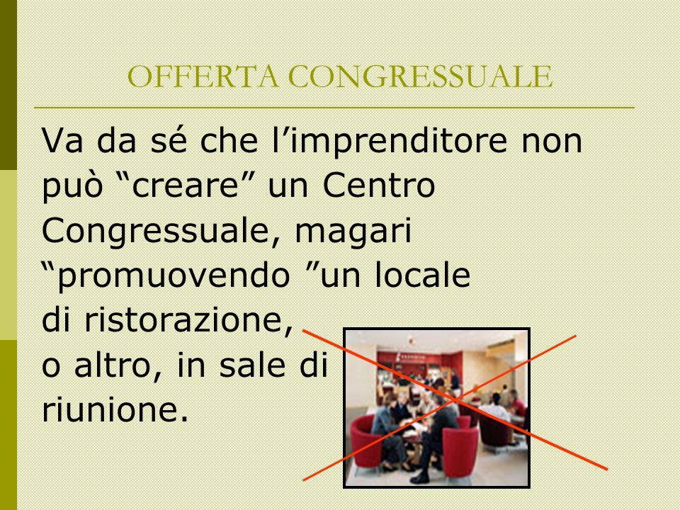 OFFERTA CONGRESSUALE Va da sé che limprenditore non può creare un Centro Congressuale, magari promuovendo un locale di ristorazione, o altro, in sale di riunione.
