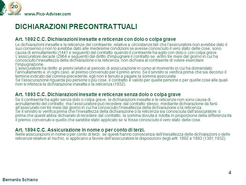 5 DICHIARAZIONI PRECONTRATTUALI CLAUSOLA DI POLIZZA (ESEMPIO POLIZZA TIPO A) Art.