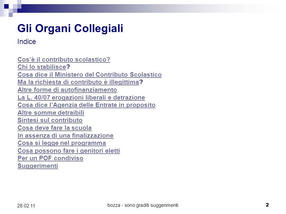bozza - sono graditi suggerimenti2 28.02.11 Gli Organi Collegiali Indice Cosè il contributo scolastico.