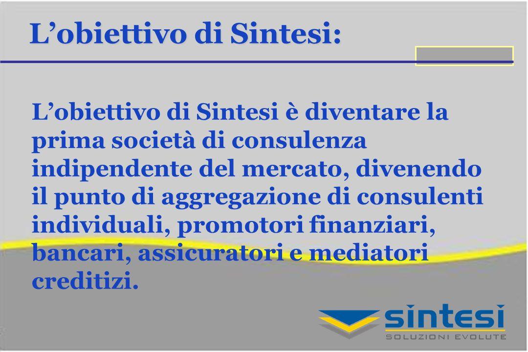 Lobiettivo di Sintesi: Lobiettivo di Sintesi è diventare la prima società di consulenza indipendente del mercato, divenendo il punto di aggregazione di consulenti individuali, promotori finanziari, bancari, assicuratori e mediatori creditizi.