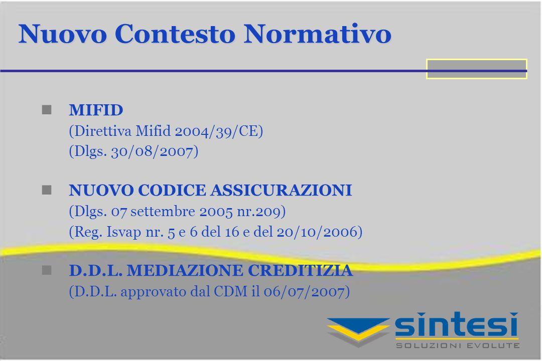 Nuovo Contesto Normativo MIFID (Direttiva Mifid 2004/39/CE) (Dlgs. 30/08/2007) NUOVO CODICE ASSICURAZIONI (Dlgs. 07 settembre 2005 nr.209) (Reg. Isvap