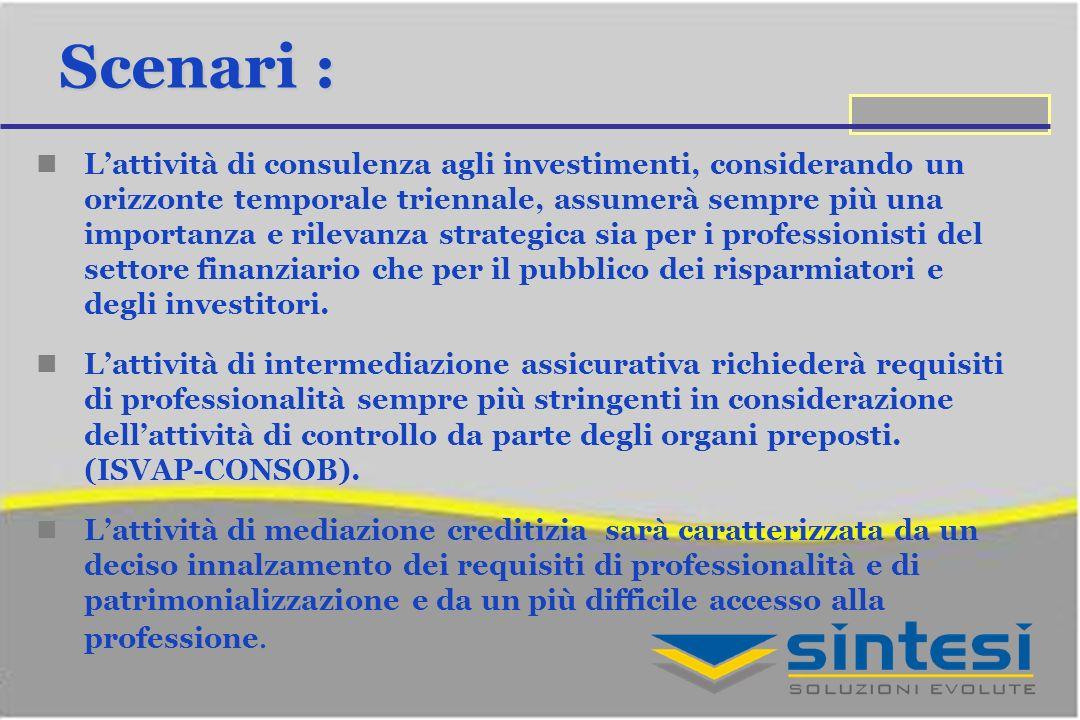 Scenari : Lattività di consulenza agli investimenti, considerando un orizzonte temporale triennale, assumerà sempre più una importanza e rilevanza str
