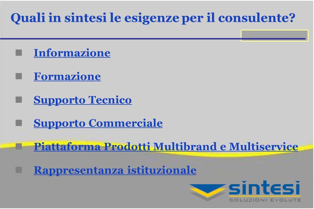 Quali in sintesi le esigenze per il consulente? Informazione Formazione Supporto Tecnico Supporto Commerciale Piattaforma Prodotti Multibrand e Multis