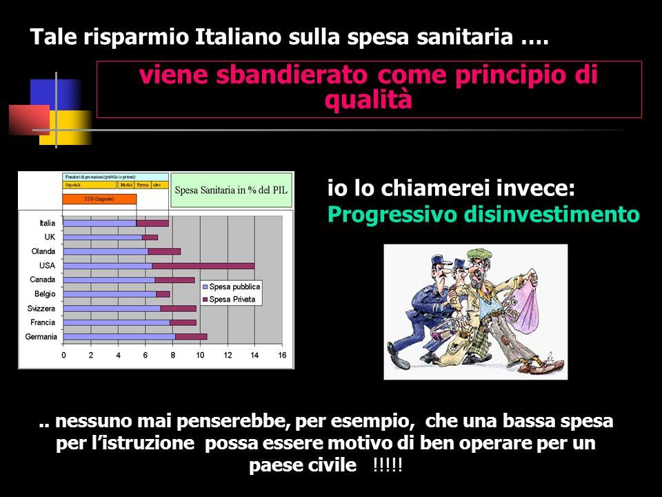 viene sbandierato come principio di qualità Tale risparmio Italiano sulla spesa sanitaria …. io lo chiamerei invece: Progressivo disinvestimento.. nes